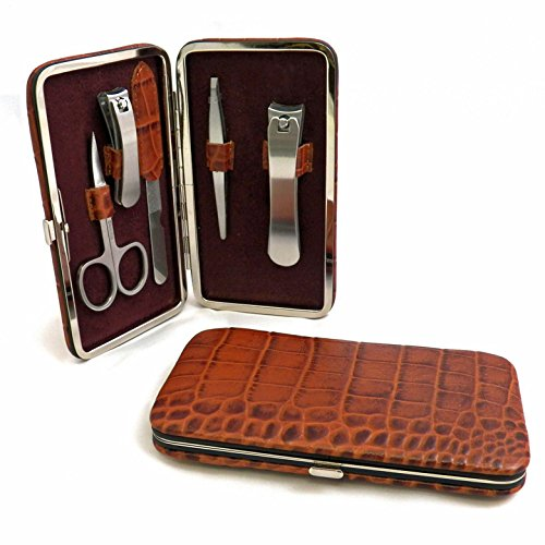 (Manicure Kits - 5-pc Manicure Set in Brown Croco Leather Case - Mens Grooming Kit)