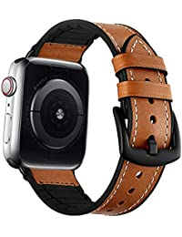 Aimtel Hybrid Rubber Leather Sports Bands Compatible with Sweat Proof Silicone Vintage Apple Watch Band iwatch Series 4 44mm,Series 1 2 3 42mm Nike Sport and Edition (Brown) (44mm(42mm))