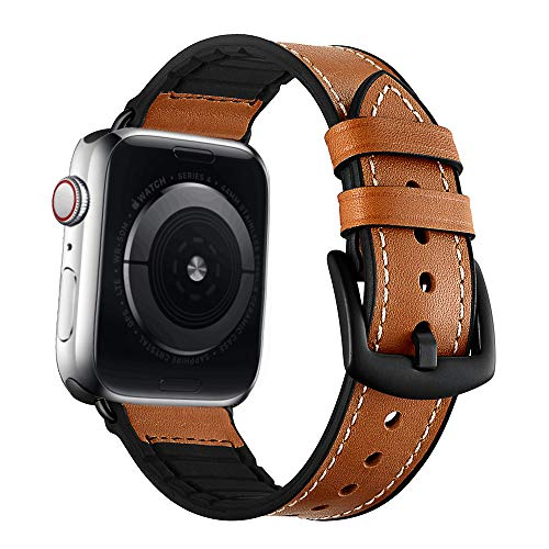 VICARA Hybrid Rubber Leather Sports Bands Compatible with Sweat Proof Silicone Vintage Apple Watch Band iwatch Series 4 44mm,Series 1 2 3 42mm Nike Sport and Edition (Brown) (44mm/42mm)