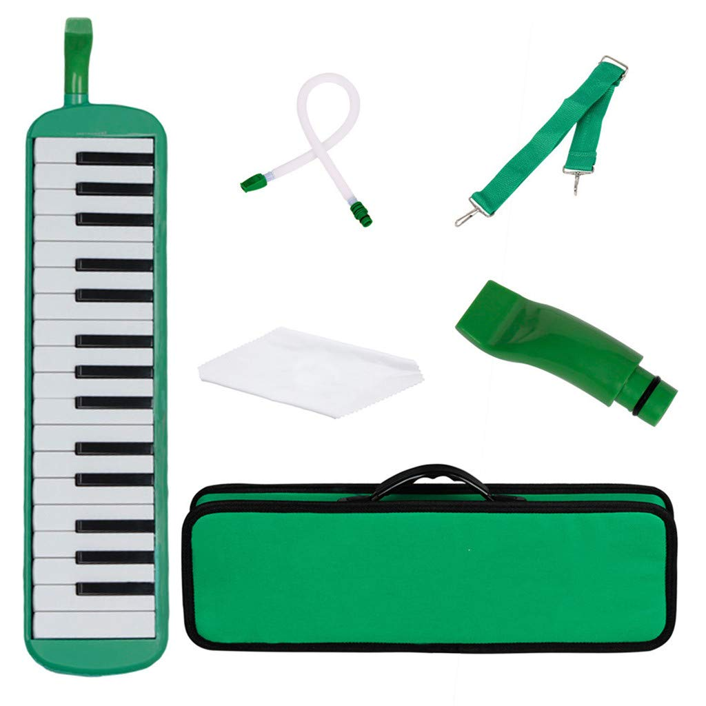 Whryspa 32 Piano Keys Melodica Students Musical Instrument for Music Lovers Beginners Gift with Carrying Bag,Green