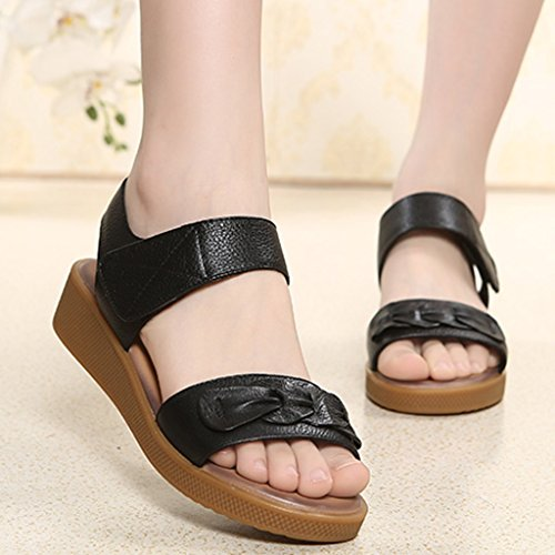 Fond Sandales D'été En ZCJB Cuir Enceintes Noir Femmes Non Plat Maman Chaussures Couleur Moyen Fond 41 D'âge taille Sandales Noir Souple Femelle slip 4xPqA