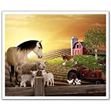 J.P. London Peel and Stick Removable Wall Decal Sticker Mural, Animal Farm Sepia Horse, 24 by 19.75-Inch