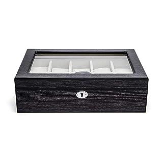 TGDY 10 Griglie Scatola Orologio in Legno, Gioielli Bracciale Display Collezione Storage Box, Cassa in Legno Laccato, Vetro Vintage HD