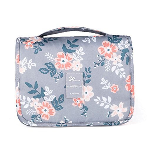(CalorMixs Hanging Toiletry Bag, Travel Organizer Cosmetic Wash Make Up Bag Case for Women Men Toiletry Kit Cosmetic Bag Travel Accessories (Light Grey Flowers))