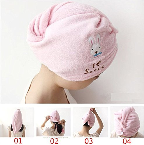 h Towel Hair Dry Hat Cap Quick Drying Lady's Bath Tool Soft (Cotton Micro Rib)