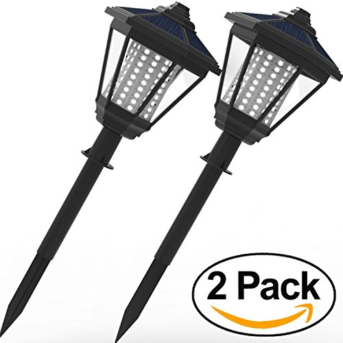 LAMPAT Solar Lights, 108 LED Decorative Columns Post Lantern Pole Lamp Pathway Garden Light Landscape Lighting for Patio Yard Deck Path Lawn Backyard, Black 2 Pack