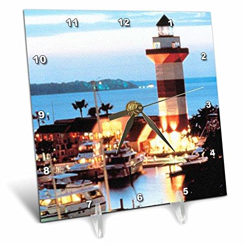 (3dRose dc_61725_1 Harbor Town Lighthouse at Hilton Head Island at Dusk Desk Clock, 6 by)