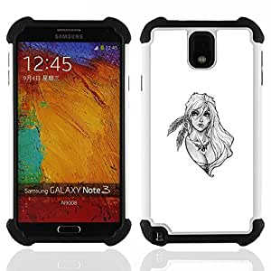 """SAMSUNG Galaxy Note 3 III / N9000 / N9005 - 3 en 1 impreso colorido de Altas Prestaciones PC Funda chaqueta Negro cubierta gel silicona suave (Rubia mujer del guerrero"""")"""