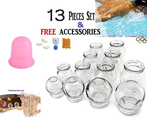 拔罐 13 pcs Thick Medical Grade Glass Cupping Therapy Set (12pcs Multiple Sizes) + Portable Silicone (1pc) / fire Glass Cupping jar for Professionals KT00092+KT00104 by We pay your sales tax