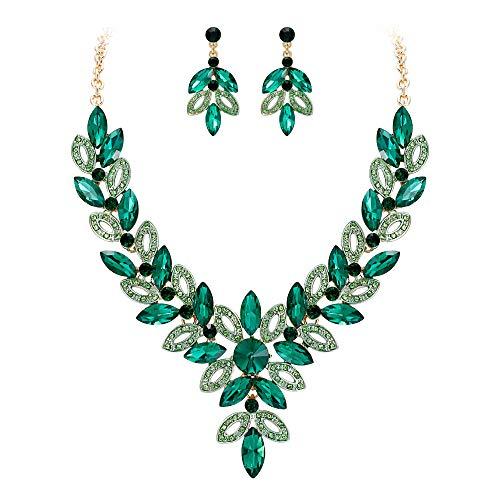 BriLove Women's Wedding Bridal Crystal Multi Marquise-Shape Leaf Enamel Statement Necklace Dangle Earrings Set Emerald Color Gold-Toned
