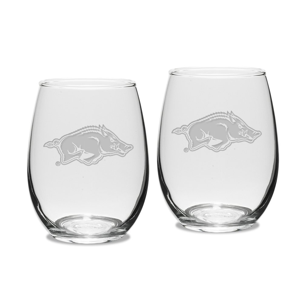 NCAA Arkansas Razorbacks Adult Set of 2 - 15 oz Stemless Wine Glass Deep Etched Engraved, One Size, Clear