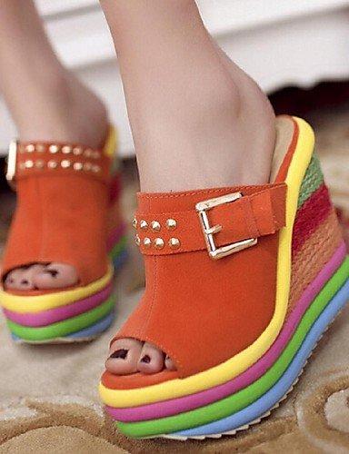 LFNLYX Zapatos de mujer - Tacón Cuña - Plataforma / Punta Abierta - Sandalias - Casual - Ante Sintético - Azul / Naranja Blue