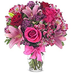 "From You Flowers - Rose & Lily Celebration for Valentine's Day (Free Vase Included) Measures 14""H by 12""L"