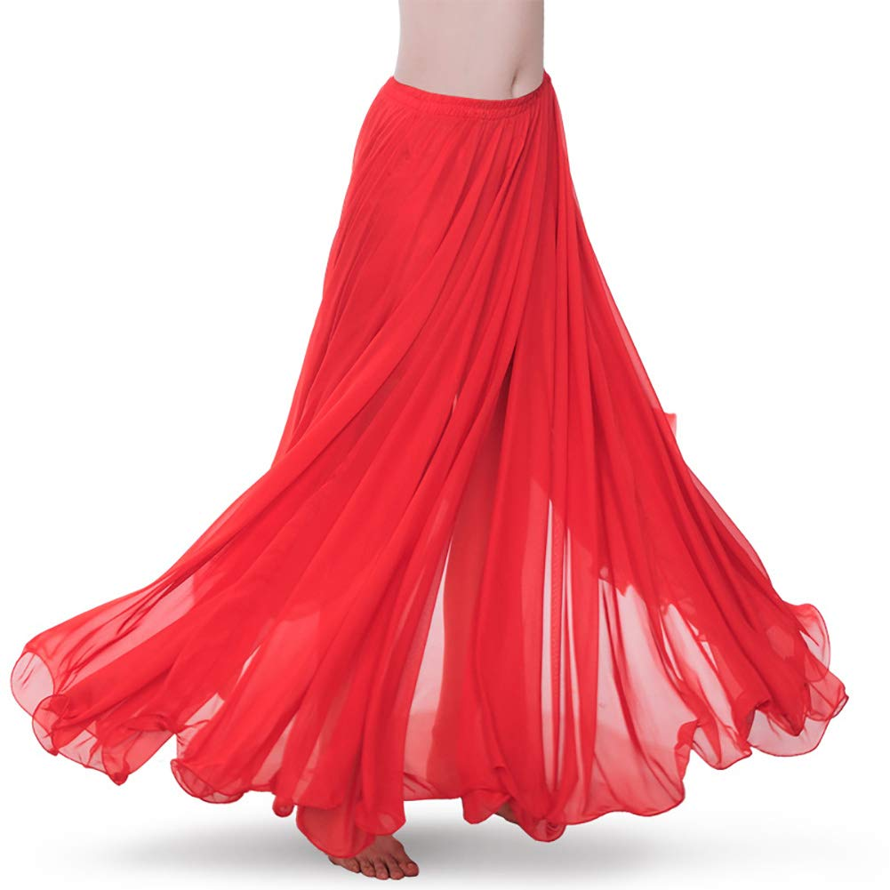 Royal Smeela Womens Belly Dance Skirt ATS Voile Maxi Full Tribal Bellydance Chiffon Skirt, Red, One Size by ROYAL SMEELA