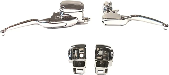 Kapsco Moto Chrome Skull Motorcycle Hand Levers Front Controls Compatible with 1996-2014 Harley Davidson Softail Springer Classic