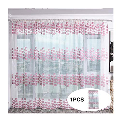 Window Curtain Trees Sheer Curtain Tulle Window Treatment Voile Drape Valance Fabric 100x200cm (Pink)