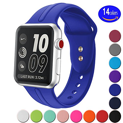Sundo Apple Watch Band Silicone 38mm, Replacement Wrist Strap Bracelet Band for Apple Watch Iwatch Nike+ Sport Edition Series 3 Series 2 Series 1(Royal Blue 38 SM) (Series Royal Blue)