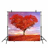 Funnytree 10x10ft Digital Photography Backdrops Background Sunset Love Maple Valentine's Fall For Wedding Photo Studio Backdrop (Upgrade material)