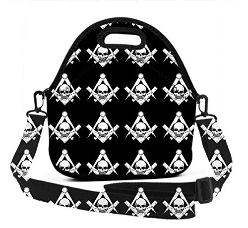 - Insulated Neoprene Lunch Bag Tote Handbag Dalmatians Cool Skull Freemason Logo Black Lunchbox Food Container Gourmet Tote Cooler Warm Pouch for School Work Office
