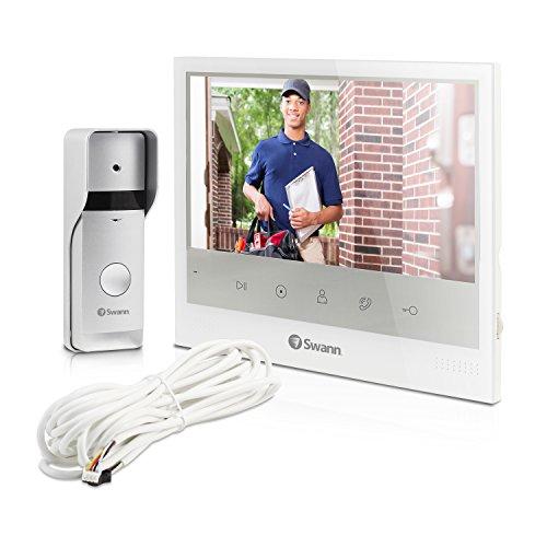 "Expandable Video Intercom Kit (Swann SWADS-DP885C-US Expandable Intercom and Video Door Phone with 7"" LCD Monitor, White)"