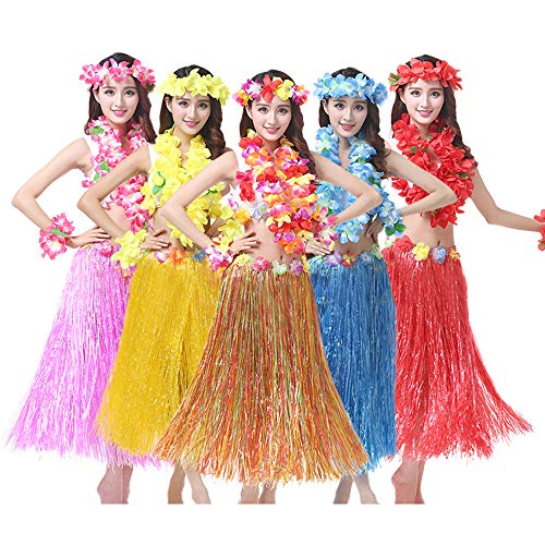 BOSHENG Tropical Multi-Colored Artificial Grass Skirt Hula Skirts for Adult,Set of 6]()