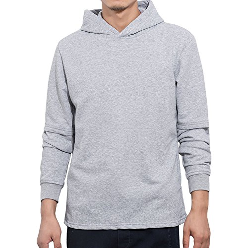 Manwan Walk Men's Slim Fit Lightweight Long Sleeve Hoodie W138 (X-Large, Light grey)