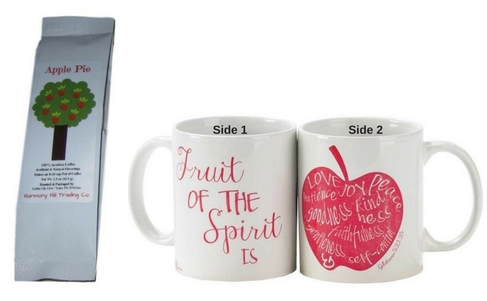 Fruit of the Spirit 2-Sided Coffee Mug Cup with Apple Pie Coffee Christian Scripture Gift Set 2 Item Bundle