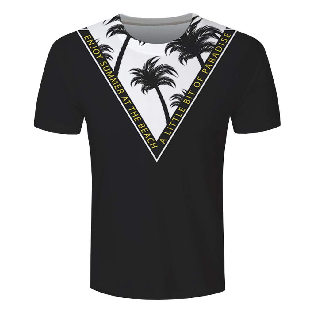 Easytoy Men Shirts Fashion T Shirt Graphic 3D Coconut Tree Hawaiian Wind Shortsleeved T-Shirt Blouse
