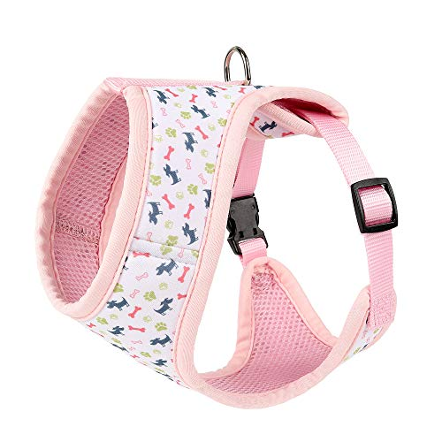 Mile High Life Dog & Cat | Fit Easy Vest Harness | No Choke Pull Step-in | Breathable Soft Mesh | Comfort Padding Puppy Training Halter | Pink Bone | X-Small - Bones D-ring