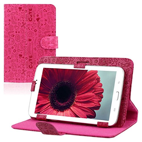 Lollipop Universal Leather Stand Case Folio Cover for RCA 7 Inch Android Tablet Pc (Rose) (Universal 7 Inch Rca Tablet Case)