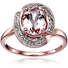 10k Rose Gold Morganite and Diamond Swirl Halo Engagement Ring (1/6cttw, H-I Color, I1-I2 Clarity), Size 7
