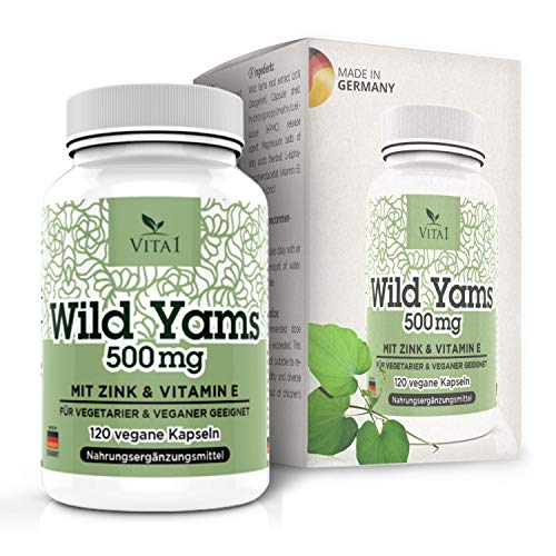 Cheap Wild Yams 120 Capsules • Highly dosed 500mg • Root Extract from Wild Yams with Vitamin E and Zinc • Vegan • Made in Germany
