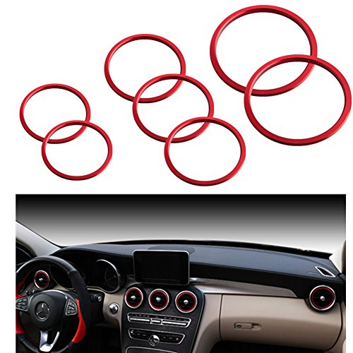 JGR Car Interior Accessories Air Condition Vent Outlet Ring Cover Opening Decroation Trim Red 7pcs Aluminum For 15-up Mercedes Benz C Class W205 C180 C250 C300 C350 C400 C63 AMG 16-up GLC Class