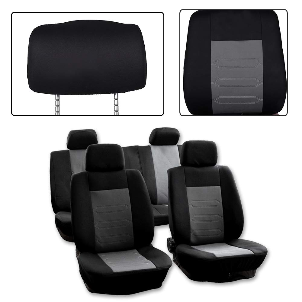 SCITOO Universal Black/Gray Car Seat Cover w/Headrest Covers 8PCS Breathable Mesh Cloth Retractable Auto Cover Replacement Most Cars