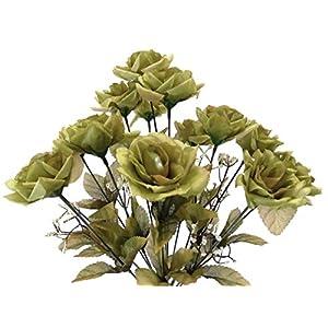 """2 Bushes HUNTER GREEN Open Roses Artificial Silk Flower 17"""" Bouquet 14-109HG 7"""