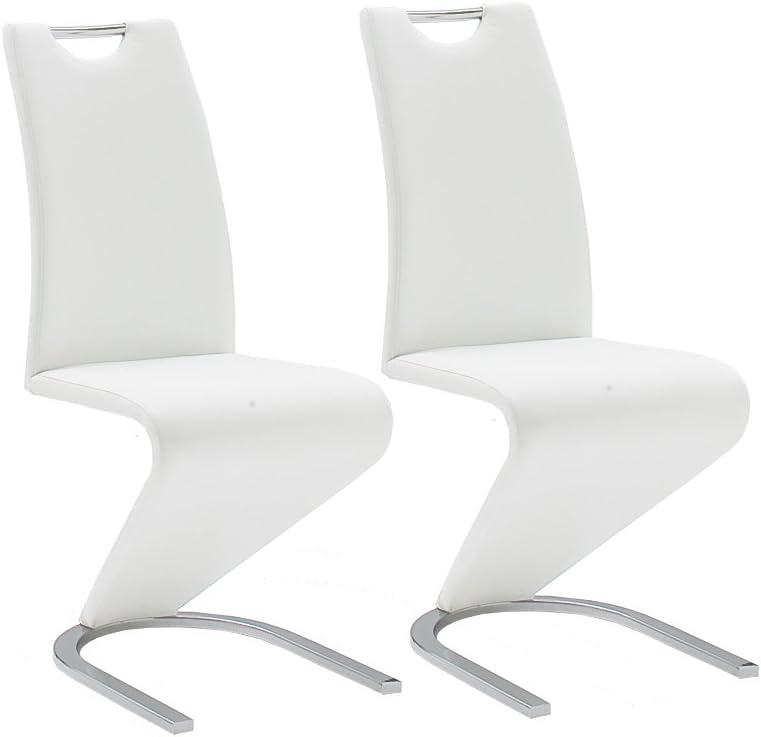 environ 62 x 45 x 102 cm Blanc Robas Lund Chaise//Chaise pied luge//Chaise Salle /à Manger Amado Imitation Cuir Lot de 2 Chaises