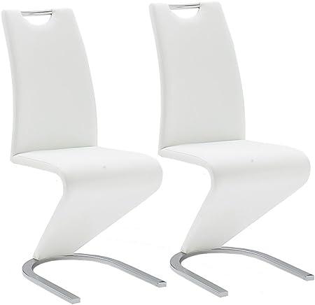 Robas Lund Esszimmerstühle 2er Set Schwingstuhl Weiß, Esszimmerstuhl Stuhl Amado