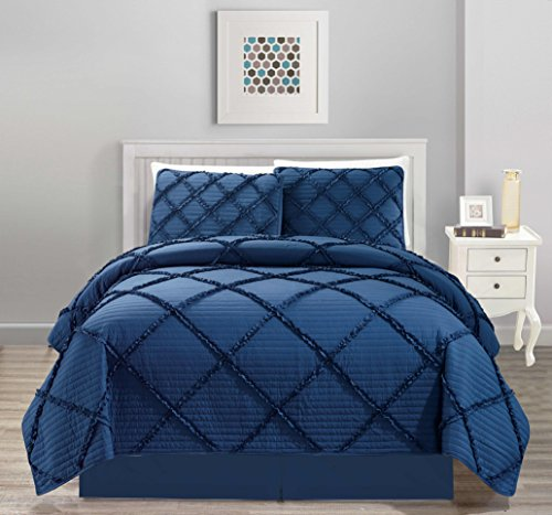 All American Collection New 4pc Diamond Pleated Ruffle Bedspread/Quilt Set with Bedskirt (King Size, Navy)
