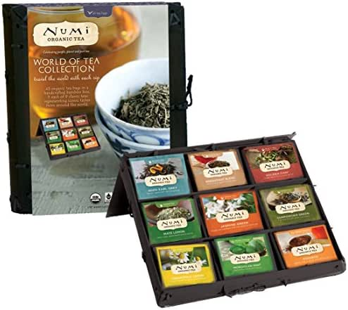 Numi Organic Tea World of Tea Variety Gift Set, 45 Black, Green, Mate & Herbal Tea Bags in Bamboo Chest (Packaging May Vary)