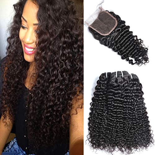 Brazilian Virgin Curly Hair 3 Bundles With 1pc Lace Closure GEM Beauty Hair Products Unprocessed Human Hair Extensions 1B 18 with 20 22 24 inch (Best Beauty Supply Virgin Hair)