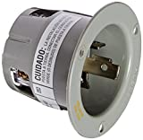 Hubbell HBL2615F Locking Devices, TwistLock, Industrial Grade, Flanged Inlet, Screw Terminal, High Temperature Version, 30 amp, 125V, 3 Wire Grounding, L5-30P, Gray