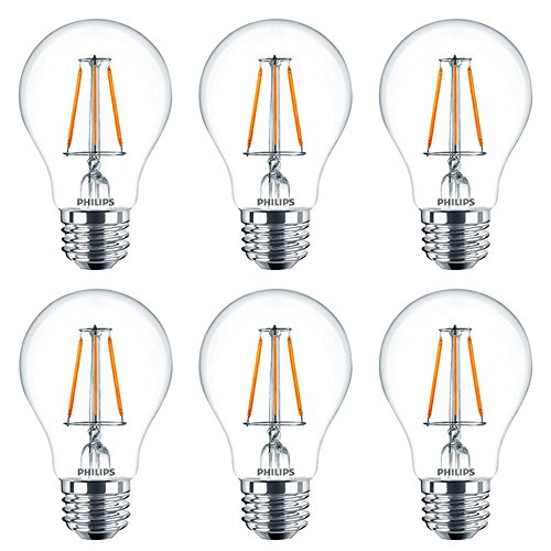 Philips LED A19 Clear Glass Dimmable Filament Light Bulb with Warm Glow Effect: 800-Lumen, 2700-2200 Kelvin, 8.5-Watt (60-Watt Equivalent), E26 Medium Base, Soft White, - 1 Glasses 800