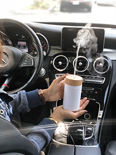 GuruNanda Portable White Essential Oil Diffuser for Car, Home, Office ~ Aromatherapy Ultrasonic Mist Essential Oils Diffusers ~ Travel-Size, Humidifiers No water needed, Fits in Cup Holder! by GuruNanda (Image #2)
