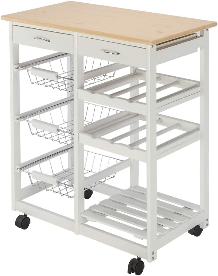White HOBBYN Multi-Purpose Rolling Wood Kitchen Dining Cart Island Storage Trolley with Utensil Drawer,Two Baskets,Two Shelves Wine Rack