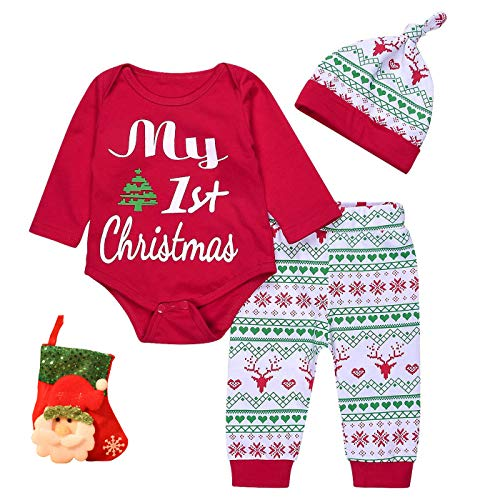4PCs Baby Red Long Sleeve T-Shirt Romper+Long Pants+Hat+Stocking Christmas Outfits Set (3-6 Months, Red)