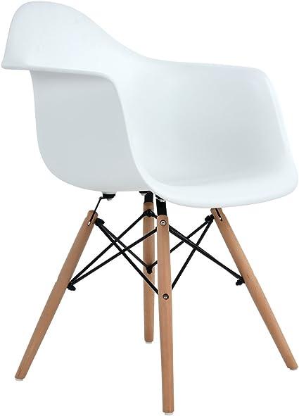 Poltrona Camera da Letto in Polipropilene con Gambe in Legno Massello di Faggio EGGREE 1 Sedia Sala da Pranzo Moderno Design Grigio
