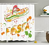 Ambesonne Mexican Decorations Shower Curtain by, Fiesta and Sombrero Straw Hat Motifs with Watercolors Splashes Image, Fabric Bathroom Decor Set with Hooks, 75 Inches Long, Green Orange