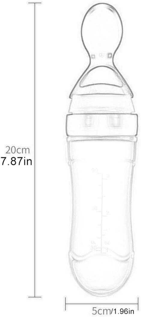 Verde Botella de pasta de arroz para beb/és Botella de leche de silicona para beb/és Cuchara de alimentaci/ón para biber/ón de silicona para beb/és Botella de pasta de arroz