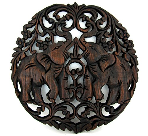 "Blue Orchid Thai Elephant Teak Wood Wall Panel Hand Carved (Round Ring 11"")"