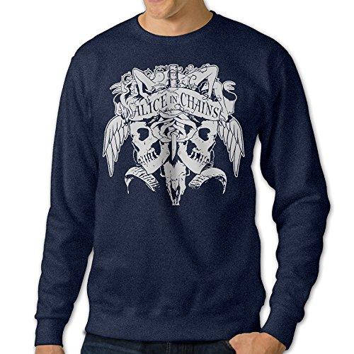 [NUBIA Men's Alice In Chain Long Sleeve Sweatshirt Navy XXL] (Car Wash Costume Ideas)